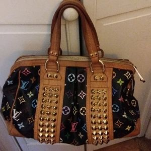 Louis vuitton large black with multicolored lv bag